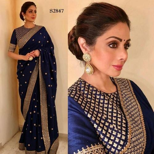 708cd6ca4b4 Georgette Navy Blue Border Designer Bollywood Styled Saree