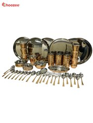 Copper / Stainless Steel Thali Set(64 Pcs) for 6 People