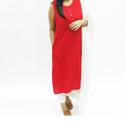 Rayon Red Color Long Kurta