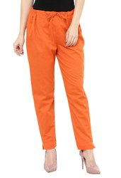 Plain Orange Cotton Trouser for Women