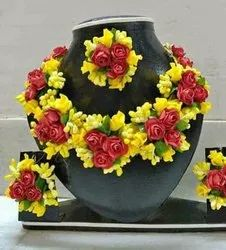Choker Artificial flowers Floral Yellow Jewellery Set