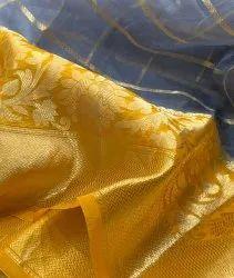 Banarasi Kora Silk Check Zari Sarees