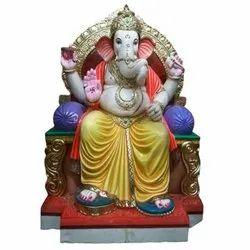 Throne Sitting Marble Ganesh Statue