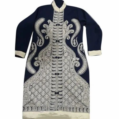 Party Wear Ladies Designer Embroidery Woolen Kurtis, Size: S to XXL