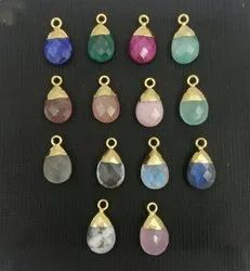 Gemstone Pear Drop Gold Cap Gemstone Pendants