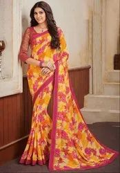 Pastel Yellow Georgette Print Saree