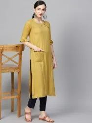 3/4 Bell Sleeve  Rayon Kurta with Side Pocket