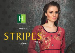 Stripes Vol 2-Rsf Fancy Rayon Stripes With Embroidery Work Anarkali Ladies Kurtis