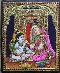Yashoda And Krishna Tanjore Painting