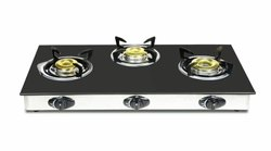 3 Burner Automatic Black Glasstop Gas Stove