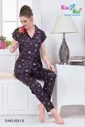 Full Length Short Sleeves KuuKee 5021 Satin Night Suit