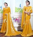 Satin Zari New Pathan Fabric Golden Yellow Fancy Party Wear Saree