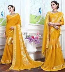 Golden Yellow Fancy Party Wear Saree