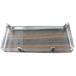 Rectangular Transparent Glass Corner Shelf