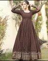 Brown Women Reyon Printed Designer Long Gown, Size: M To Xxl