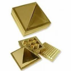 Kesar Zems Golden Plated Brass Multi Layer Vastu Nano Pyramid Set - 1 Inch/2 Inch
