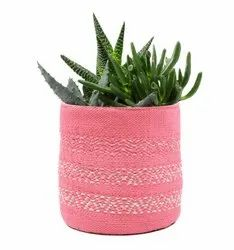 Multi Color Decorative Fabric Plant Holder Basket