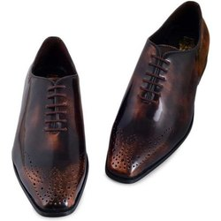 Party Mens Brown ADM Brushed Formal Leather Shoes