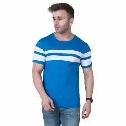 Male Round Cotton Blue Stripper T-Shirt, Adult