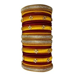 Silk Thread Hand Made Bangles With Kundan, Packaging Type: Box