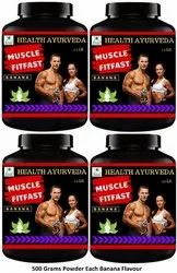 Health Ayurveda Muscle Fit Fast Weight Gainer (Banana Flavor) - 500 gms Powder (Pack Of 4)