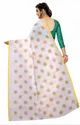 Printed Butta White Pure Linen Cotton Saree