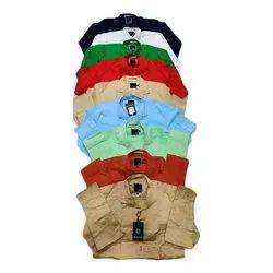 Param Casual Wear Mens Collar Neck Cotton Plain Shirt, Size: M - Xl