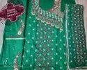 Green Casual Wear Unstich Embroidered Suits, Size: Free Size
