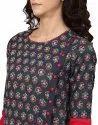 Yash Gallery Women's Cotton Slub Floral Printed A-Line Kurta