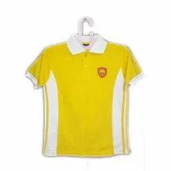 Yellow Cotton Kids School Uniform T Shirt, Packaging Type: Packet