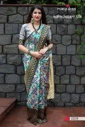 Multicolor Festive Wear JAMDANI SILK Saree, Machine Made, 6.3 m (with blouse piece)