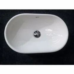 Wall Mounted White Oval Ceramic Countertop Wash Basin, For Bathroom