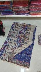 Casual Wear Silk Chanderi Kalamkari Saree, 6 M (with Blouse Piece)