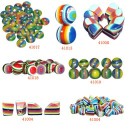 Round Multicolored Layered - Handmade Resin Beads