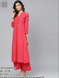 Pink Solid A-Line Kurta & Palazzo with Tie & Dye Dupatta Set