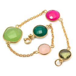 Multi Gemstone Chain Bracelet