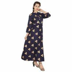 Casual Wear Ladies Navy Blue Gold Print Rayon Long Kurti