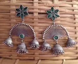 Engagement Silver Look Alike Brass Earrings