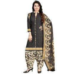 Rajnandini Charcoal Crepe Printed Unstitched Dress Material