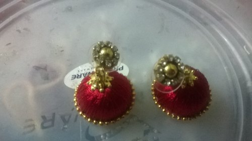 Women Red Colour Silk Thread Jhumka