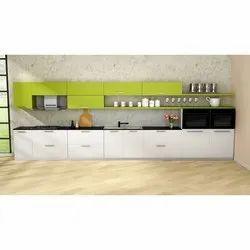 Wooden(Frame) Straight Designer Modular Kitchen