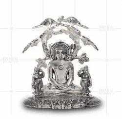 Silver Plated Mahavir Under Tree