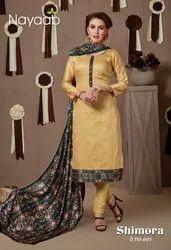 Nayaab Yellow Printed Churidar Suit, Handwash