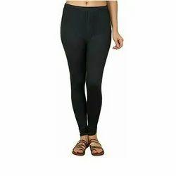 Black Ladies Cotton Plain Leggings, Casual Wear, Slim Fit