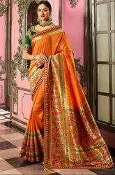 Golden Orange Designer Silk Saree