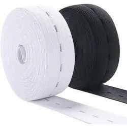 Polyester & Nylon White and Black Plain Button Hole Elastic, Thickness: 4-5 mm, Size: 0.4 -50 cm
