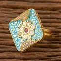 Kundan Delicate Ring With Gold Plating 300141