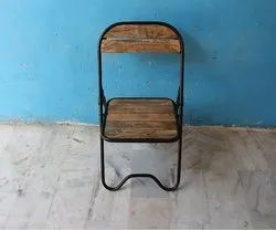 Black Powder Coated Metal Folding Chair With Wooden Top, For Outdoor, Size: W16xd16xh33 Inch