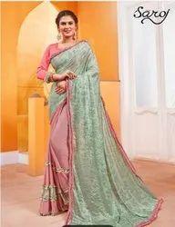 Stylish Designer Frill Lycra Saree