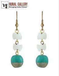 Green & White Glass Bead Earring